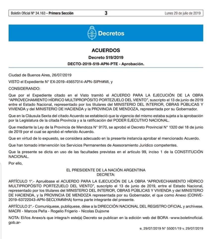 Portezuelo del Viento: Se dio el último paso administrativo y ya está todo listo para su llamado a licitación