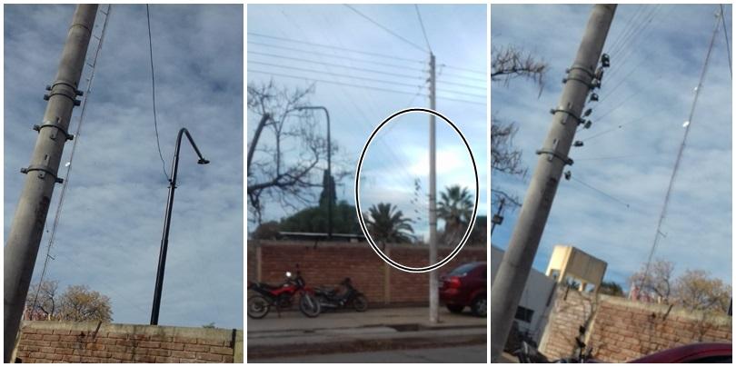 ¡Peligro!: La antena de una radio está sujeta a un poste de Edemsa