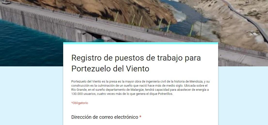 Portezuelo del Viento: Los interesados en trabajar en la obra ya pueden inscribirse