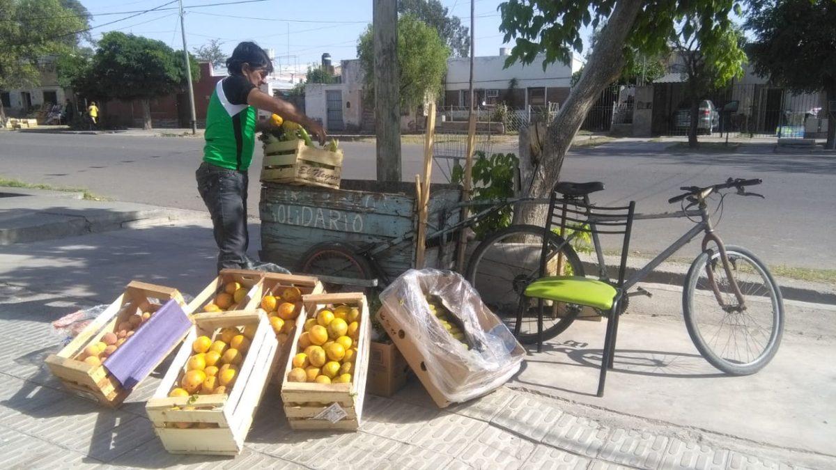 El «cartonero solidario» está regalando frutas en calle Telles Meneses