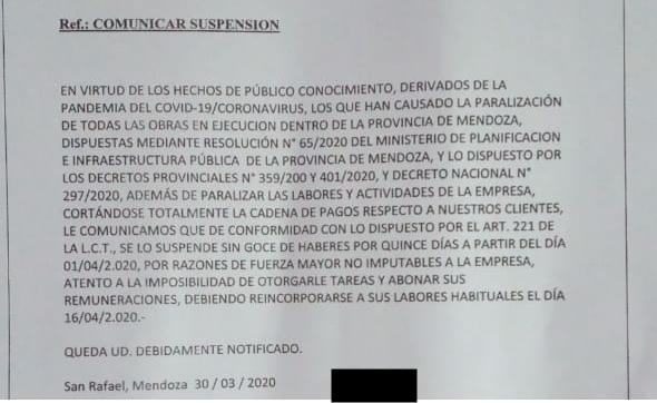 Arrancaron las suspensiones y despidos en San Rafael